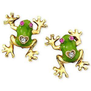 Betsey Johnson Jungle Book Frog Stud Earrings
